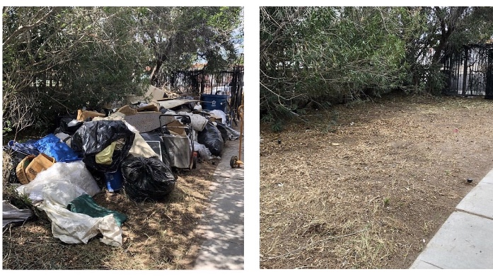 A before and after picture of a yard clean up.